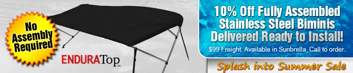 Save 10% on Fully-Assembled Stainless Steel Bimini Tops!